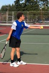 Bremerton's Garrett Lawson won the Olympic League 2A boys singles title on Thursday at North Kitsap High School.