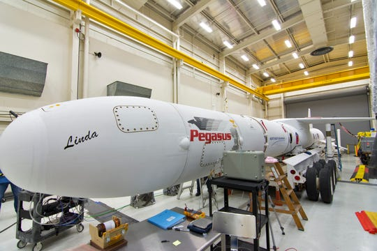 The Northrop Grumman Pegasus XL rocket shown inside Building 1555 at Vandenberg Air Force Base in California, on Oct. 8, 2018. An Oct. 19 ferry flight transported the rocket and NASA's Ionospheric Connection Explorer (ICON) satellite to Cape Canaveral in preparation for launch early Oct. 26.