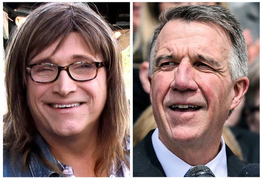 This combination of 2018 file photos show Vermont Democratic gubernatorial challenger Christine Hallquist, left, and Republican Gov. Phil Scott, who will face off in the November general election.