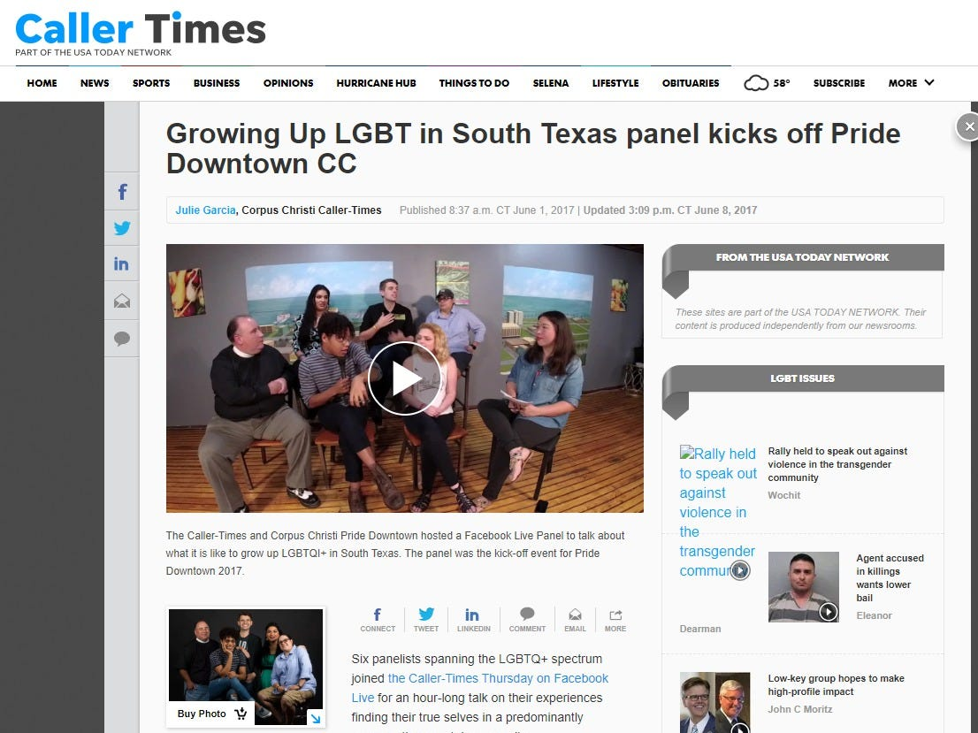 A screenshot of the Caller-Times website featuring the Growing Up LGBT panel hosted by the Caller-Times. The panel focused on growing up as an LGBT person in South Texas.