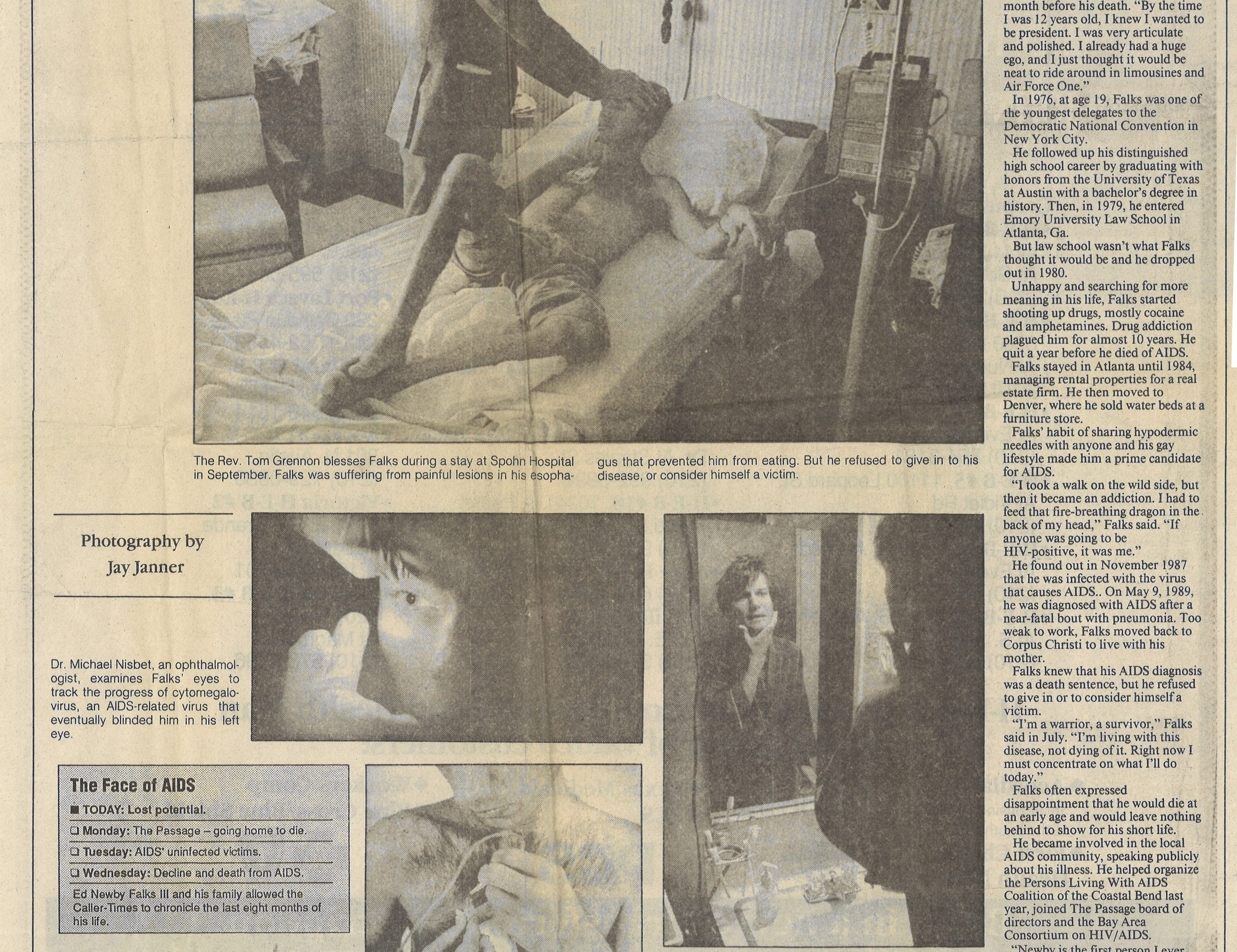 "The first part of ""The Face of AIDS"" series, where a Caller-Times reporter and photographer followed a man dying of AIDS in his last days. (2 of 2)"