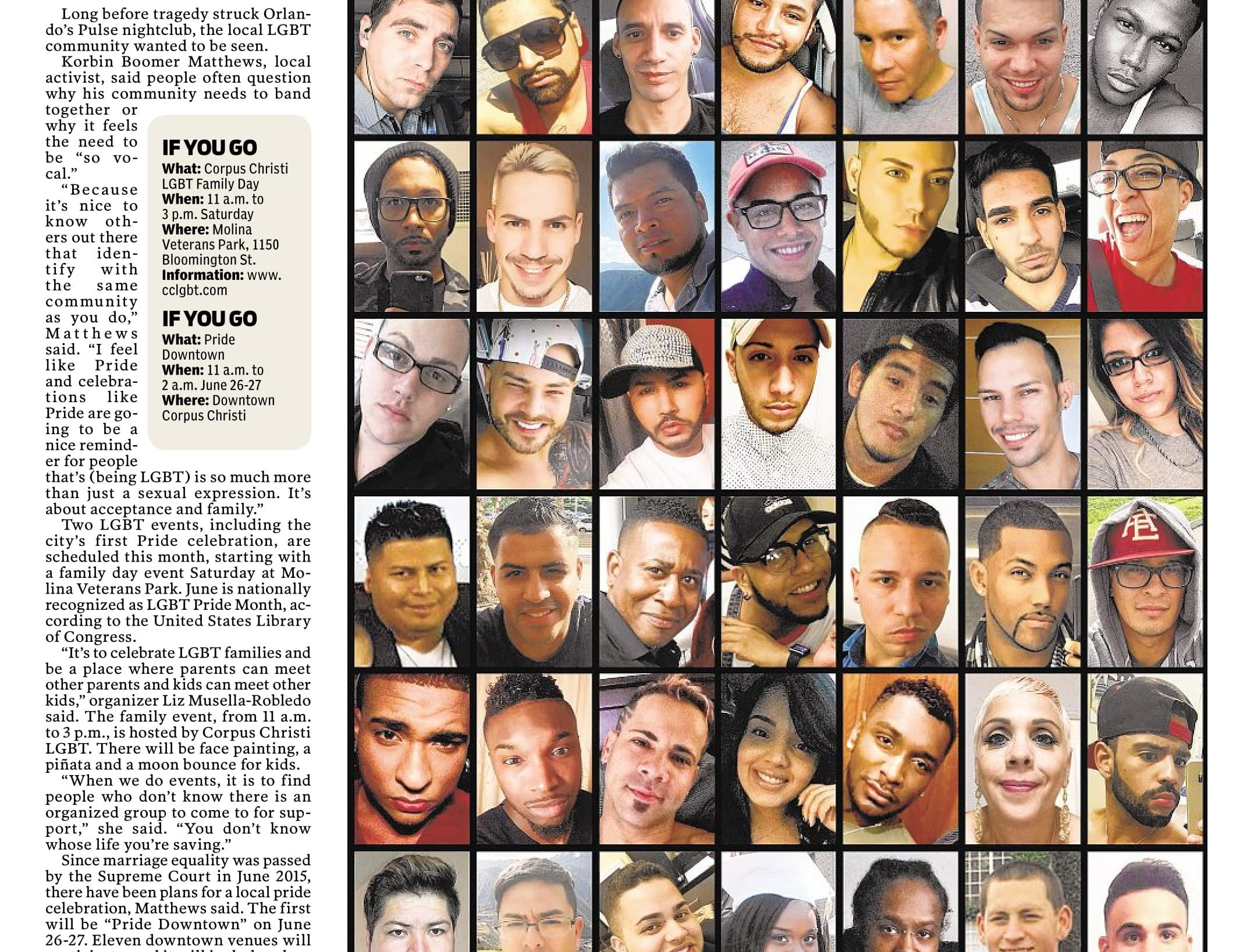 A page from the Caller-Times on June 18, 2016 featuring coverage of the Pulse nightclub shooting.