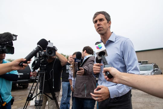 U.S. Rep. Beto O'Rourke, D-El Paso, who is running for  U.S. Senate, speaks to the media before a campaign rally at the VFW Post in Sinton, Texas on Friday, Oct. 19, 2018.