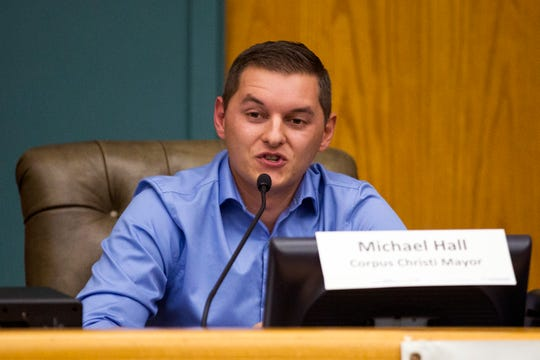 Mayoral candidate Michael Hall participates in a League of Women Voters-Corpus Christi forum on Thursday, October 18, 2018 at City Hall.