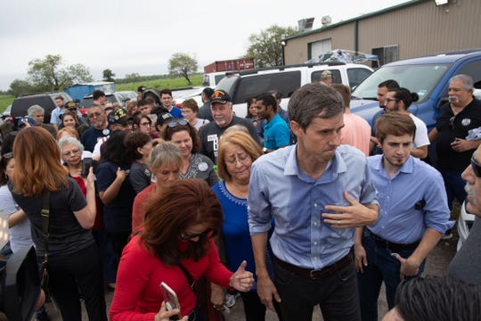 U.S. Rep. Beto O'Rourke, D-El Paso, who is running for  U.S. Senate, speaks to supporters outside a campaign rally at the VFW Post in Sinton, Texas on Friday, Oct. 19, 2018.