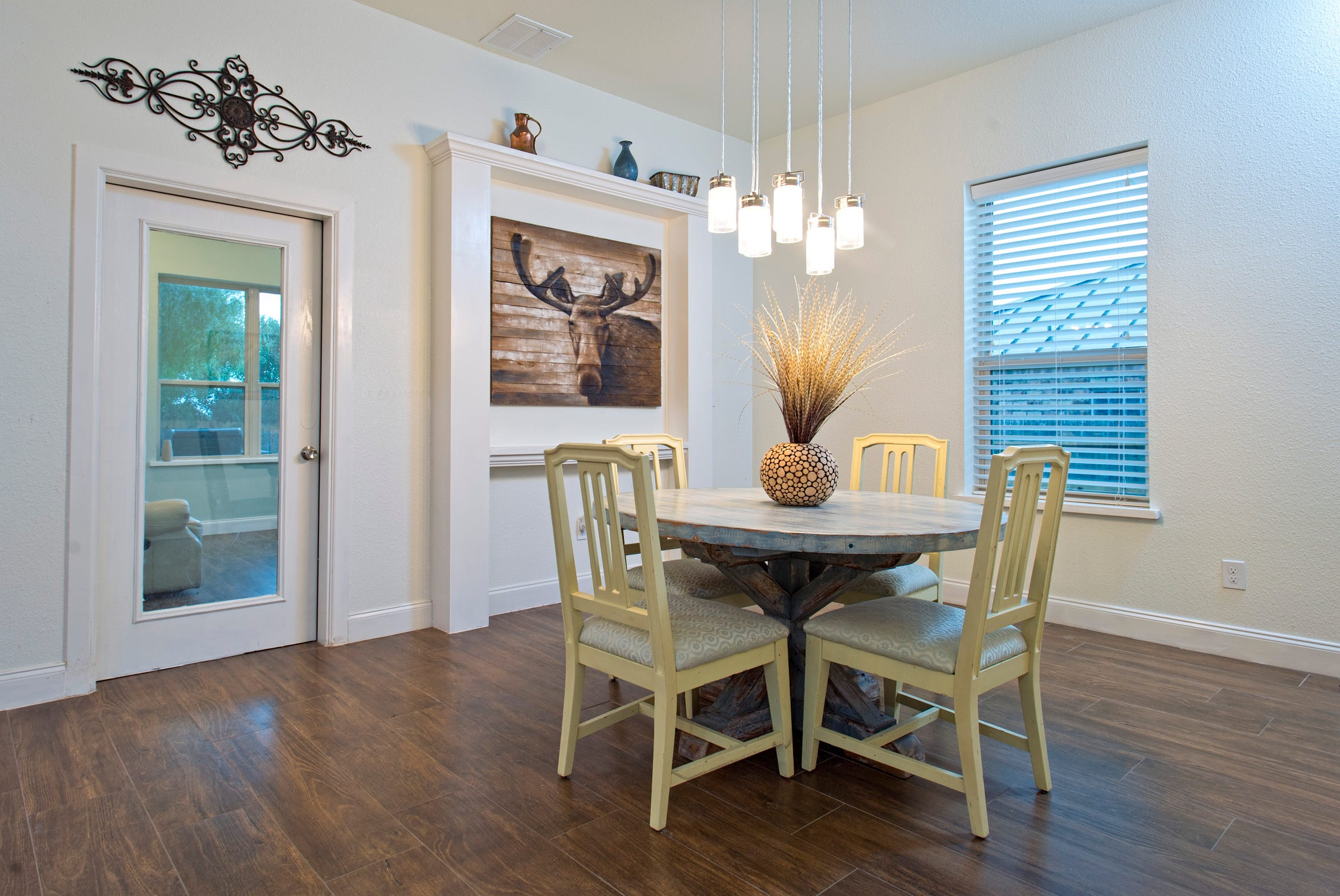 The not so formal dining area will accommodate a large table or a small one with room to spare