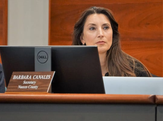 Port of Corpus Christi commissioner Barbara Canales listens to a presentation during an Oct. 16, 2018 port commission meeting.