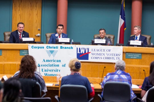 Congressional District 27 Rep. Michael Cloud (from left), and  Congressional District 27 candidates Eric Holguin, Daniel Tinus and James Duerr participate in a League of Women Voters-Corpus Christi forum on Thursday, October 18, 2018 at City Hall.