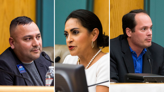City Council At Large candidates, from left to right: John Garcia, Paulette Guajardo and Michael Hunter