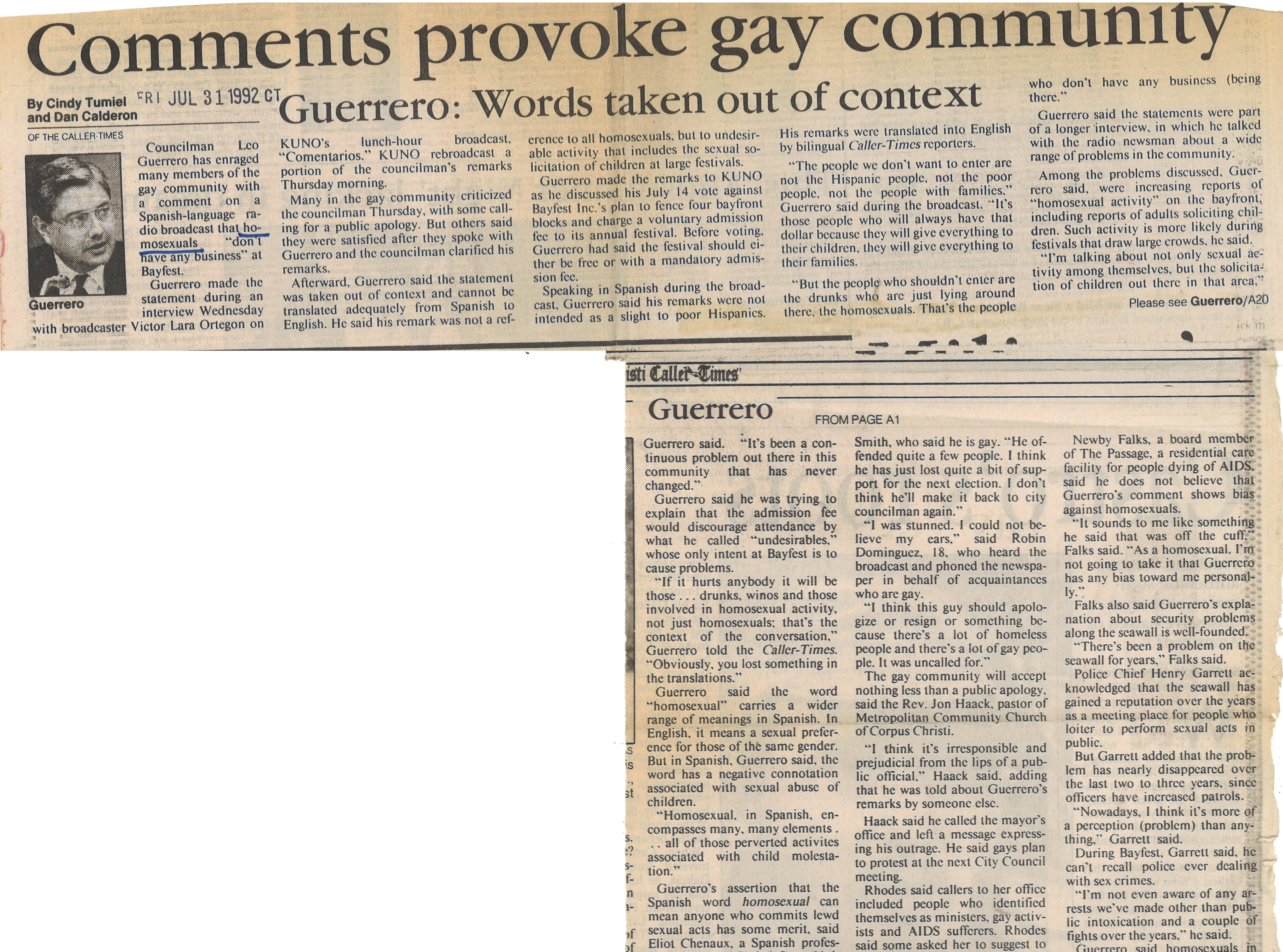 An article in the July 31, 1992 Caller-Times about city councilman Leo Guerrero's comments on the gay community.