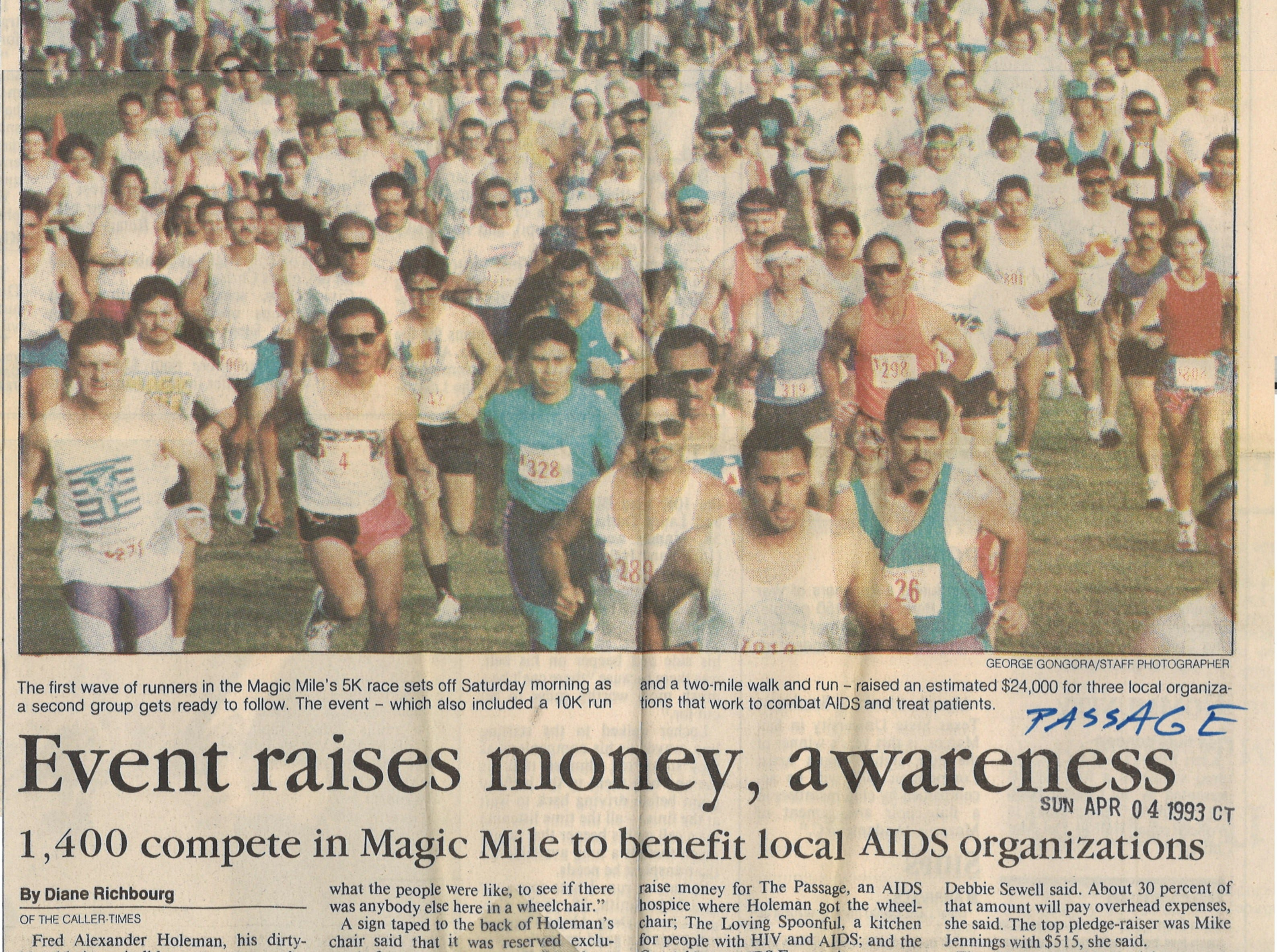 An article from the April 4, 1993 Caller-Times featuring coverage on the Magic Mile benefit to help local AIDS organizations.