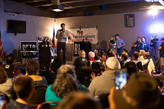 U.S. Rep. Beto O'Rourke, D-El Paso, who is running for  U.S. Senate speaks to the media before a campaign rally at the VFW Post in Sinton, Texas on Friday, Oct. 19, 2018.