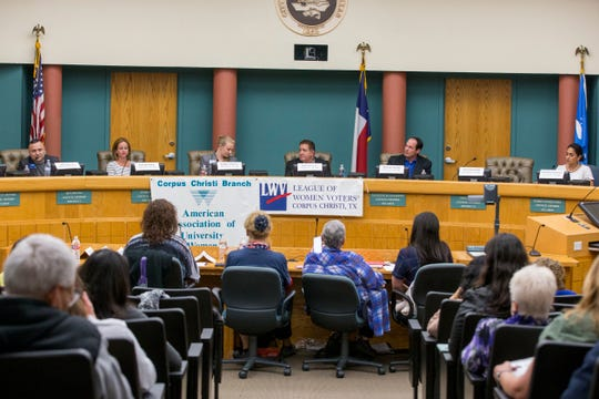 At-large candidates John Garcia (from left), Brandey Batey, Kaylynn Paxson, Rudy Garza, Michael Hunter and Paulette Guajardo participate in a League of Women Voters-Corpus Christi forum on Thursday, October 18, 2018 at City Hall. x