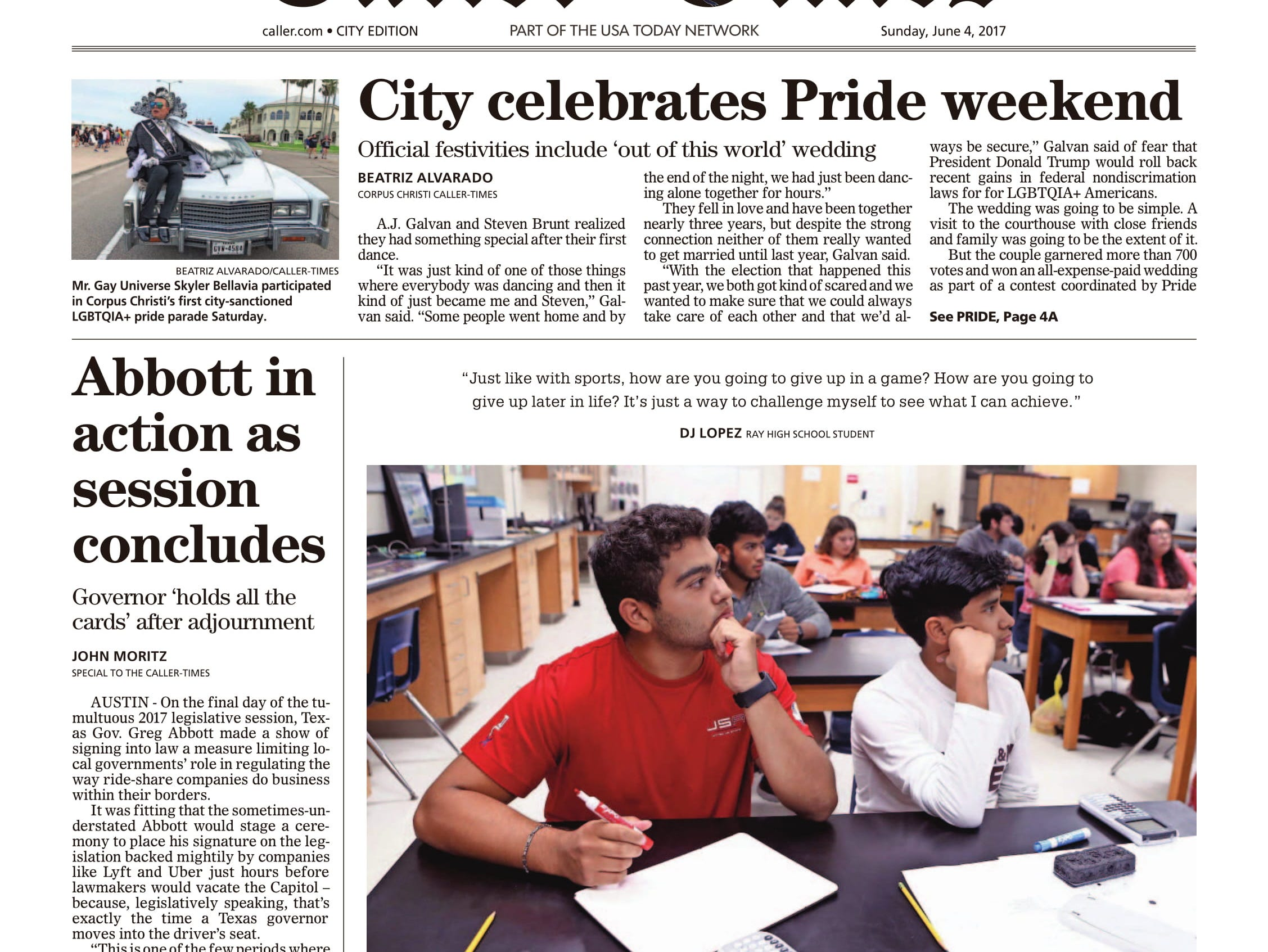 The front page of the Caller-Times on June 4, 2017 after the city's first pride parade.