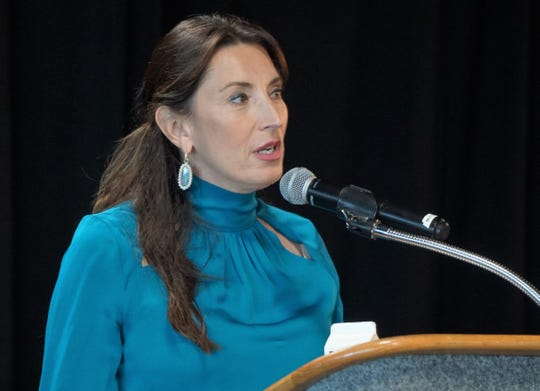Port of Corpus Christi commissioner Barbara Canales speaks during the State of Energy event on Aug. 29, 2018 at the Congressman Solomon P. Ortiz International Center.