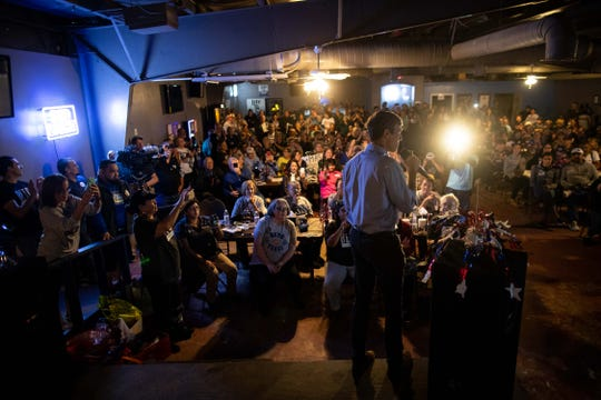 U.S. Rep. Beto O'Rourke, D-El Paso, who is running for  U.S. Senate, speaks to the media before holding a campaign rally at the VFW Post in Sinton, Texas on Friday, Oct. 19, 2018.