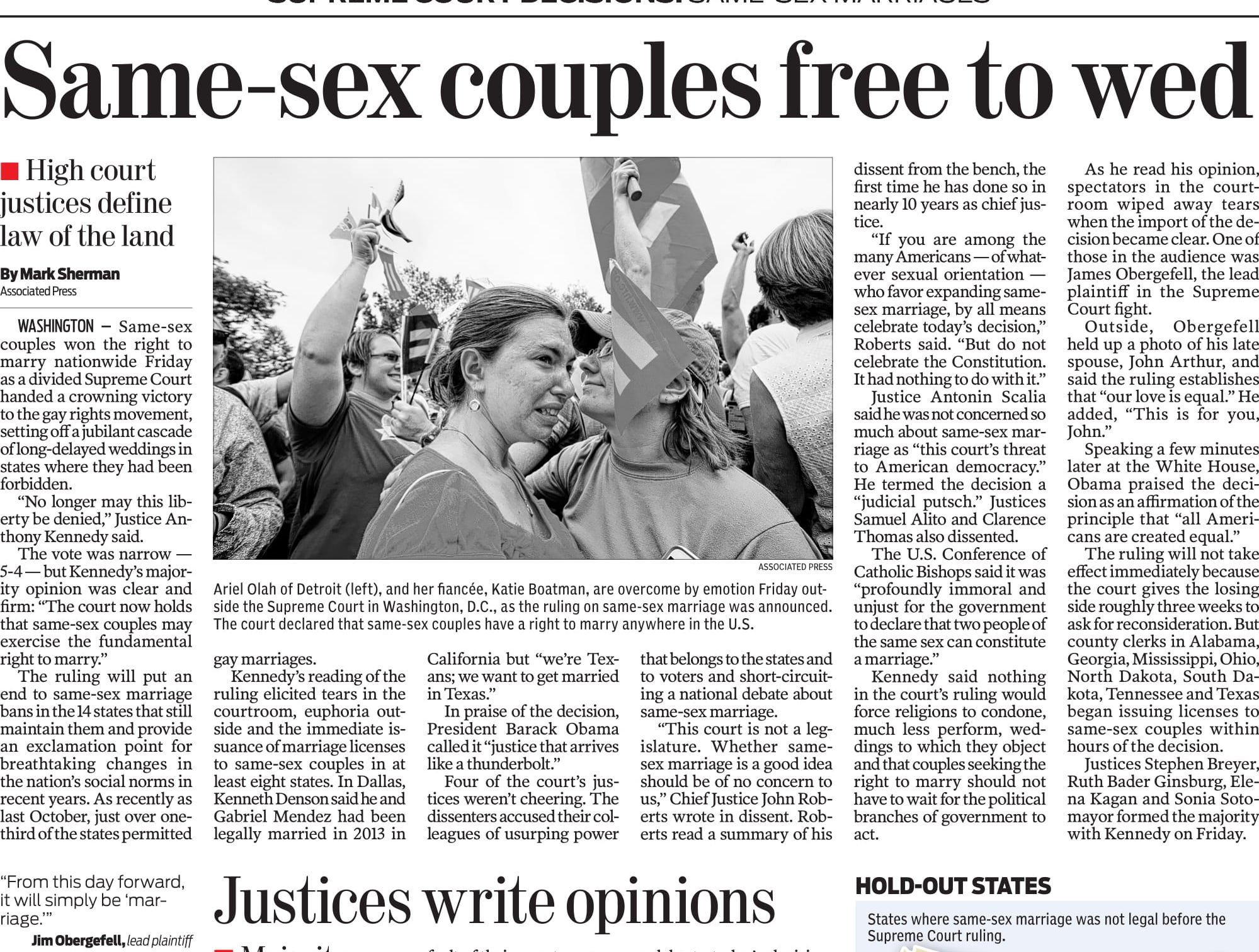 A page in the Caller-Times on June 27, 2015 dissecting the recent decision by the Supreme Court to legalize same-sex weddings nationwide.