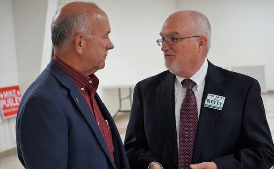 Mike Pusley, Republican candidate for Nueces County Judge, speaks with Bill Kelly following an event on Sept. 6, 2018, during which the Corpus Christi Police Officers Association and the Nueces County Sheriff Officers' Association gave endorsements for Pusley in the race.
