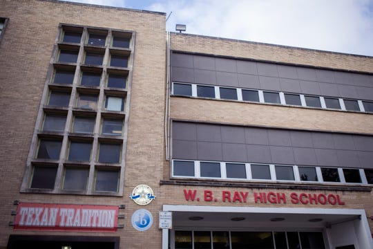 The Corpus Christi ISD Board of Trustees has called for a bond referendum which includes replacement of windows at Ray High School. The school has replaced some windows, but the remainder of the windows would need to be replaced with a bond measure. Old windows are located at the left and new windows are on the right.