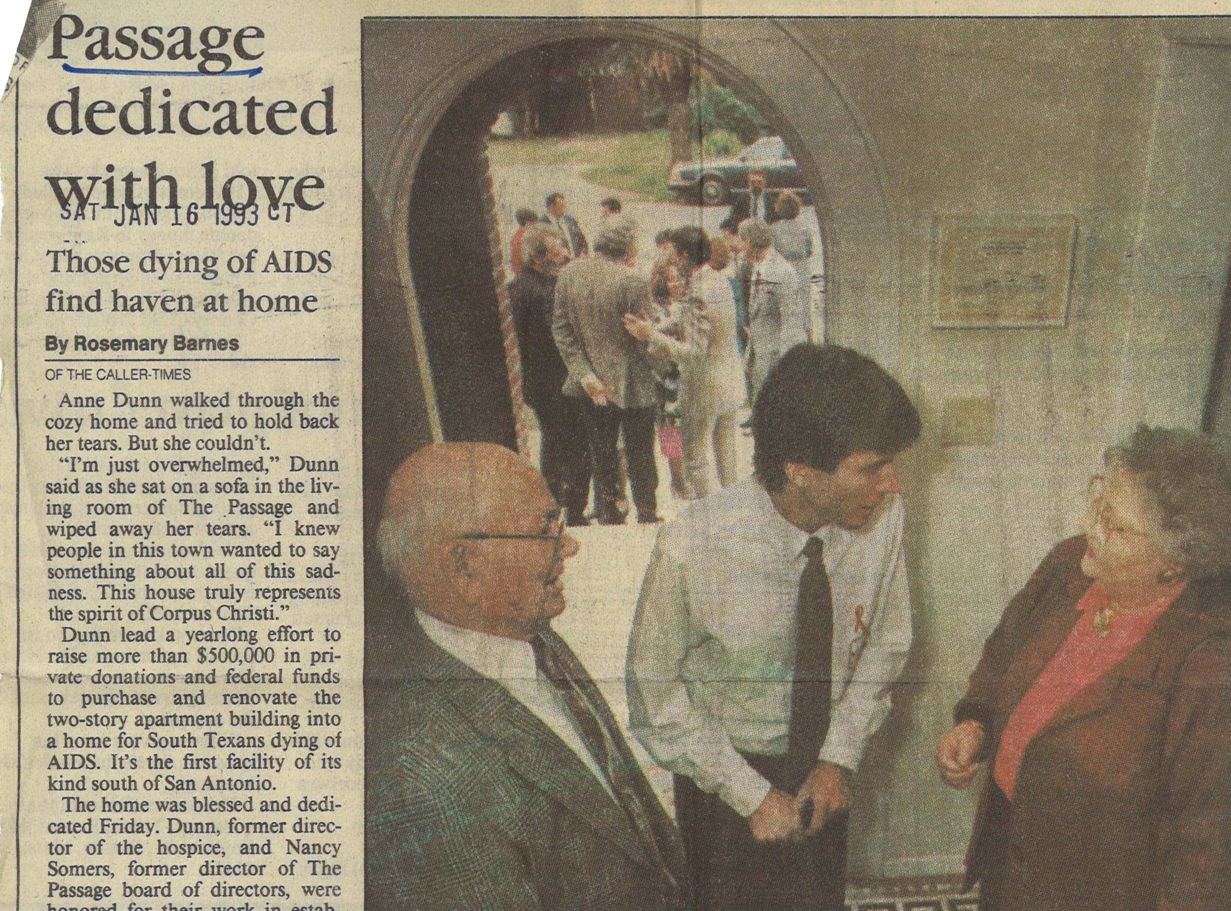 An article from the January 16, 1993 Caller-Times about the opening of The Passage, an AIDS organization that acted as a last resort hospice for Corpus Christi residents.