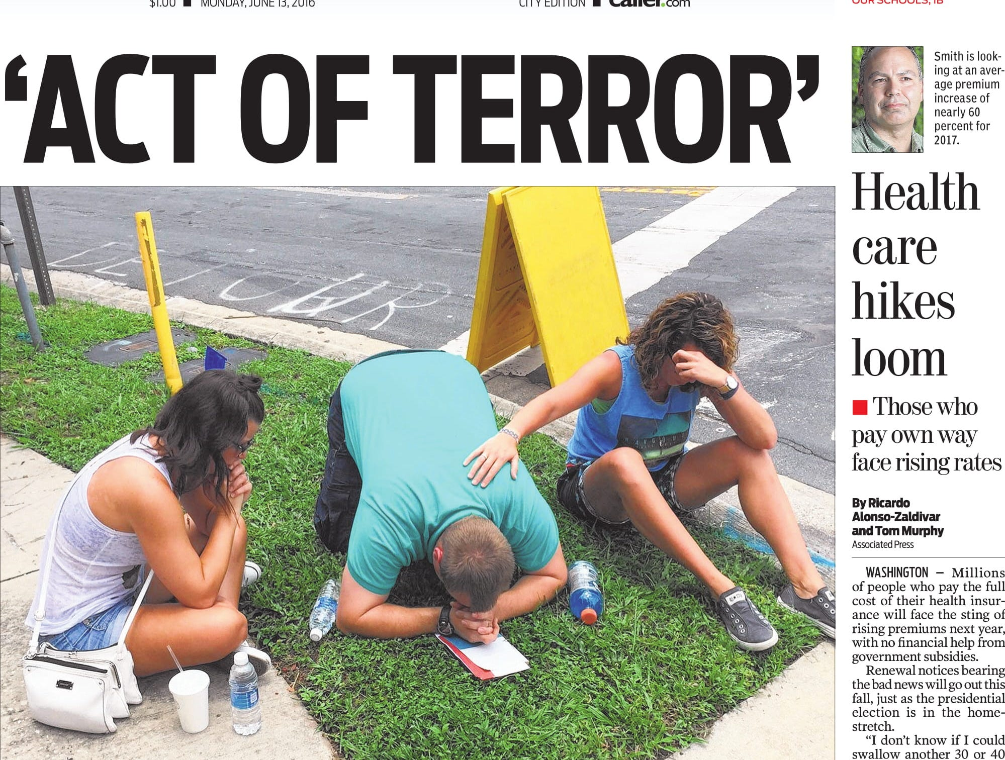 The front page of the Caller-Times on June 13, 2016 after the shooting in Orlando, Florida at a gay nightclub that left 49 dead.