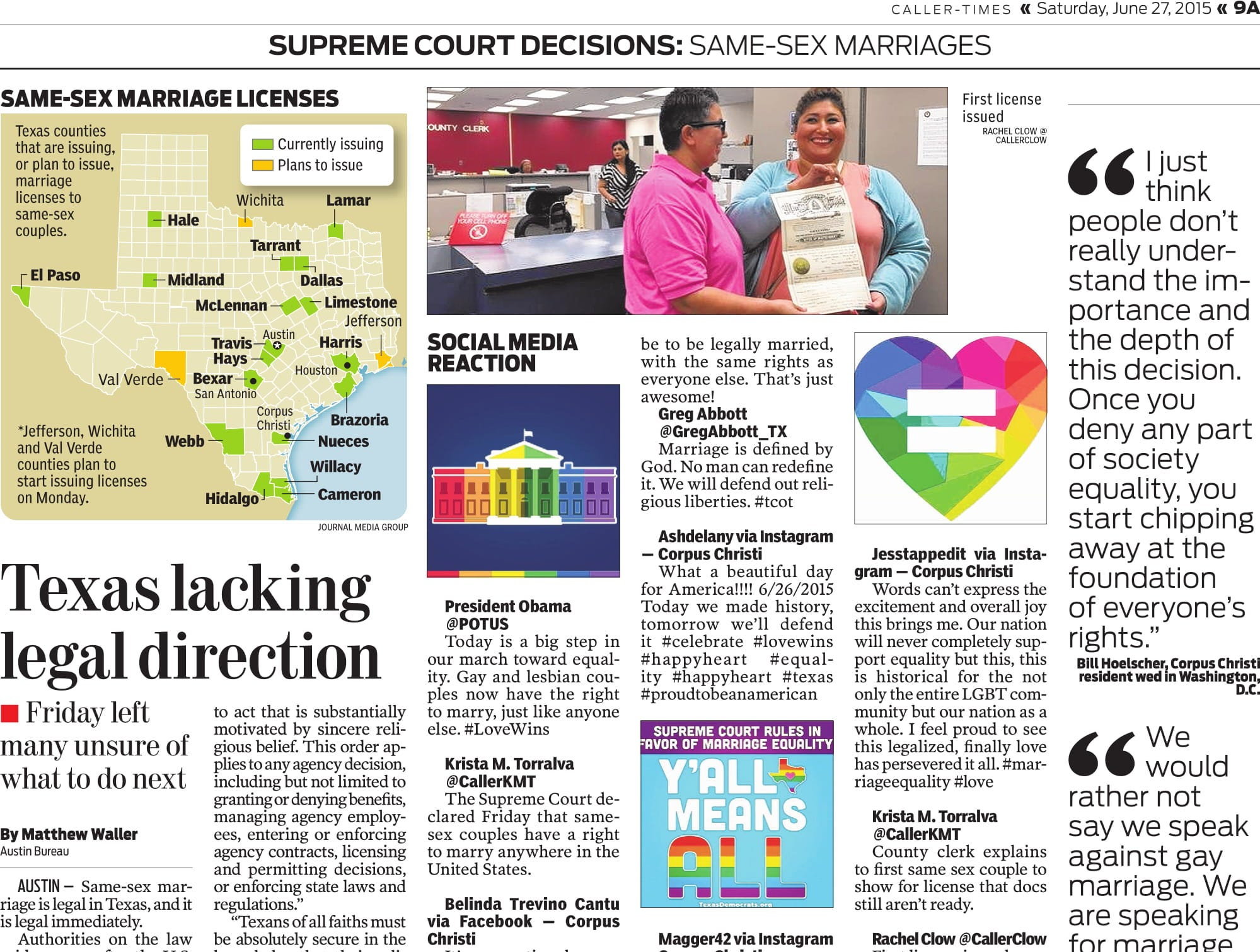 A page in the Caller-Times on June 27, 2015 after same-sex was legalized nationwide.