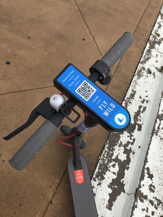 Blue Duck scooters, now available in downtown Corpus Christi, require users to download an app.