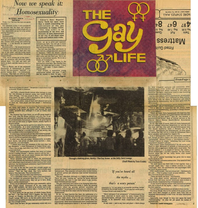 "An article in the 1975 Caller-Times series ""The Gay Life"" about LGBT life in Corpus Christi."