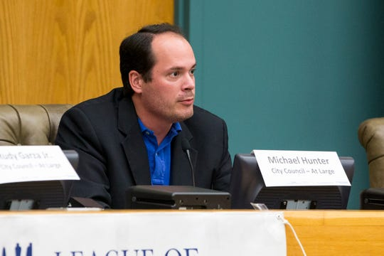 At-large candidate Michael Hunter participates in a League of Women Voters-Corpus Christi forum on Thursday, October 18, 2018 at City Hall. x