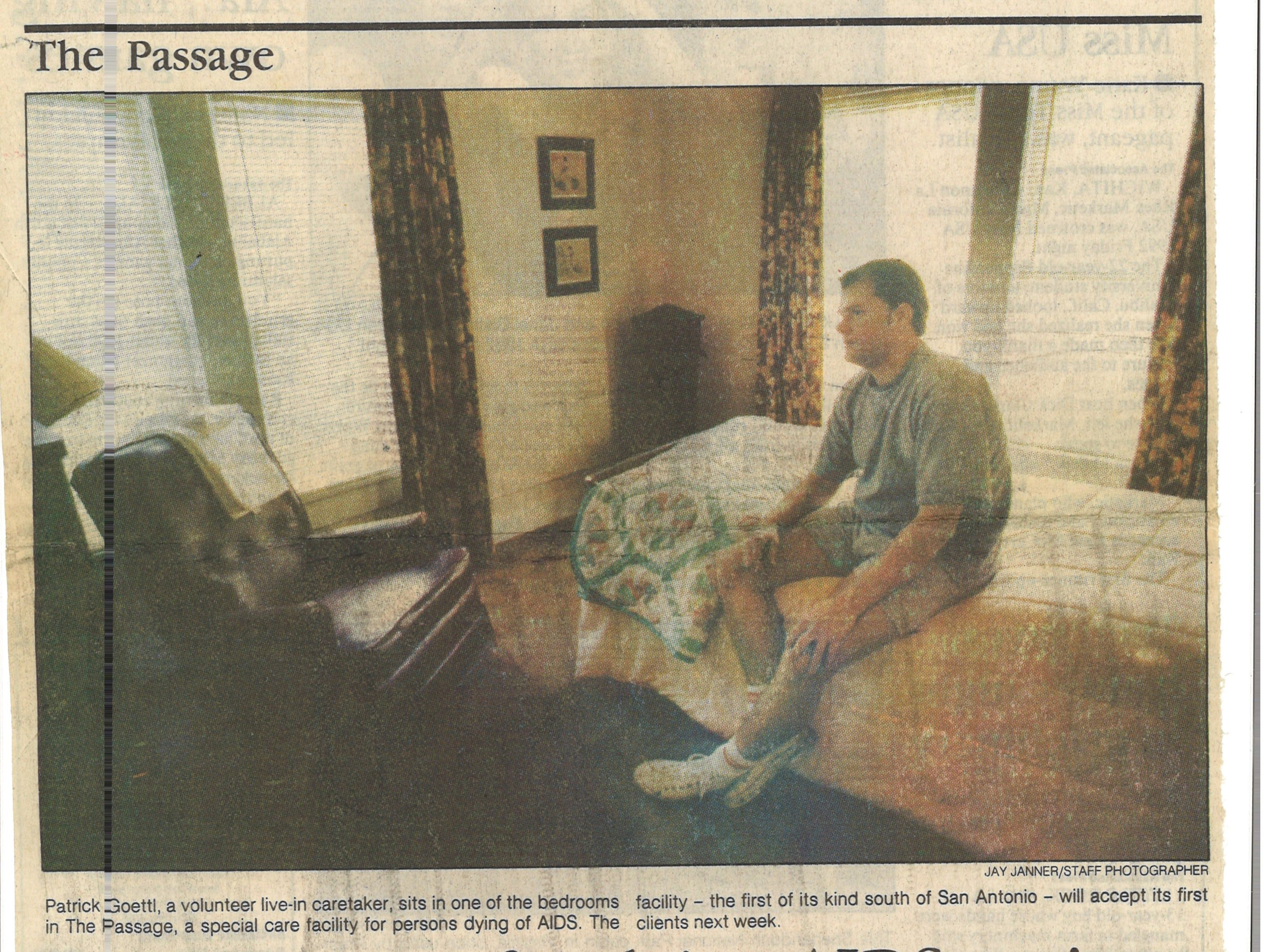 A February 8, 1992 article in the Caller-Times about plans for HIV/AIDS organization, The Passage, to soon open.