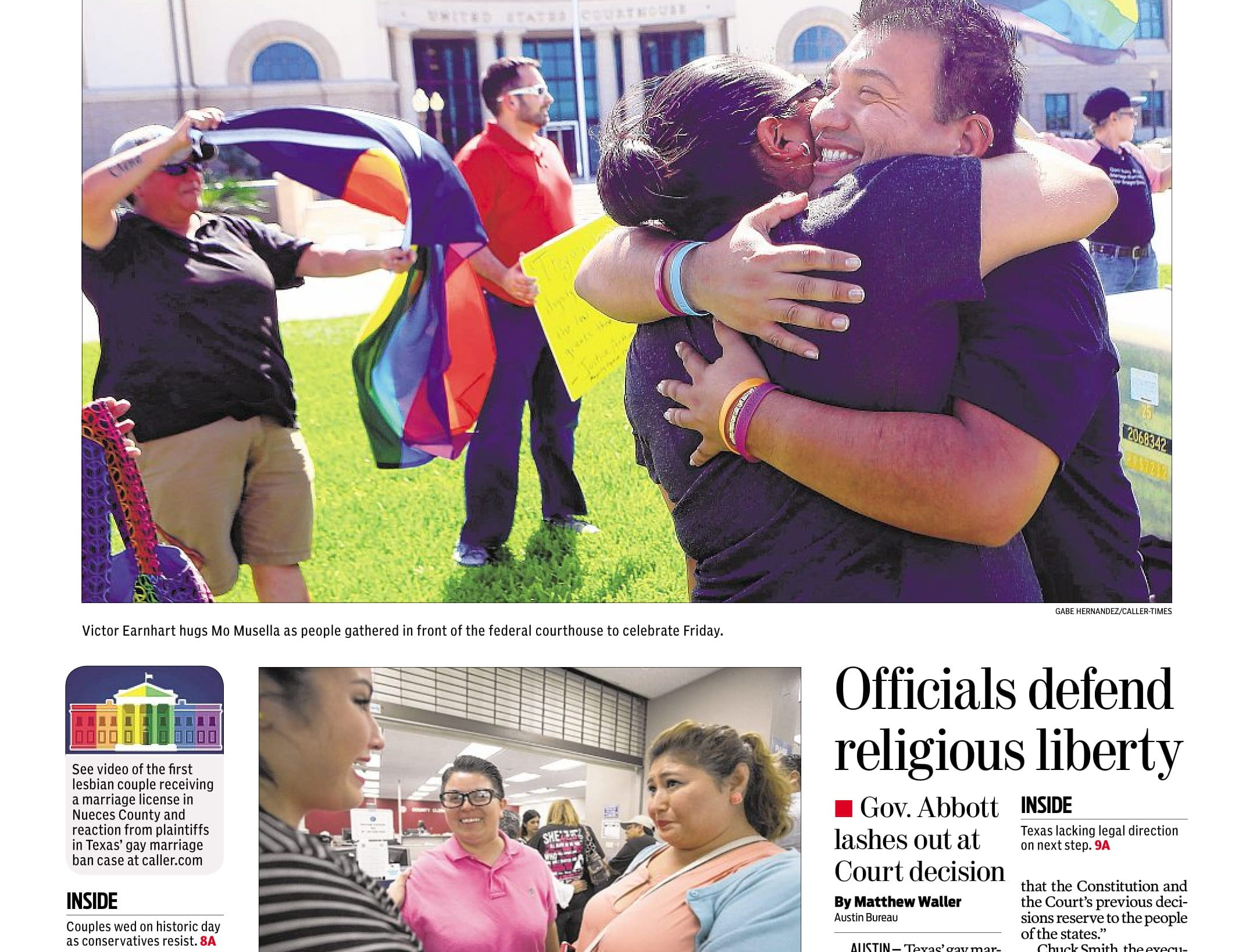 The front page of the Caller-Times on June 27, 2015 after same-sex marriage was legalized across America.