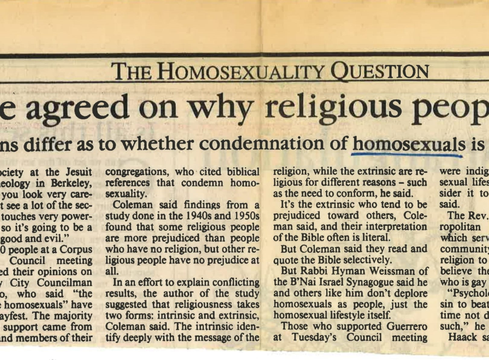 An August 14, 1992 Caller-Times article about theologians opinions on homosexuality.