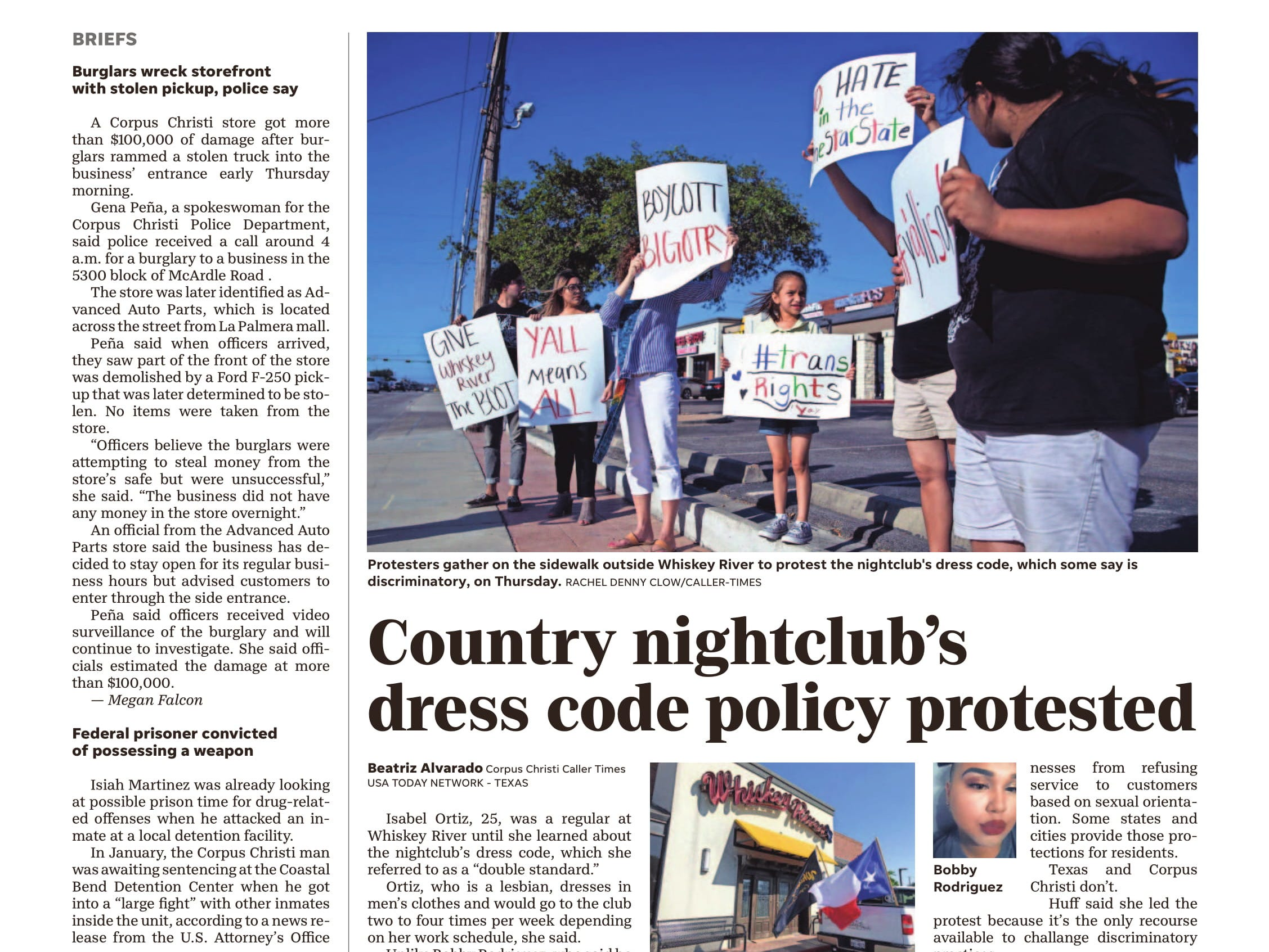 A page from the Caller-Times on May 18, 2018 featuring a story about LGBT patrons who were kicked out of a local country bar.