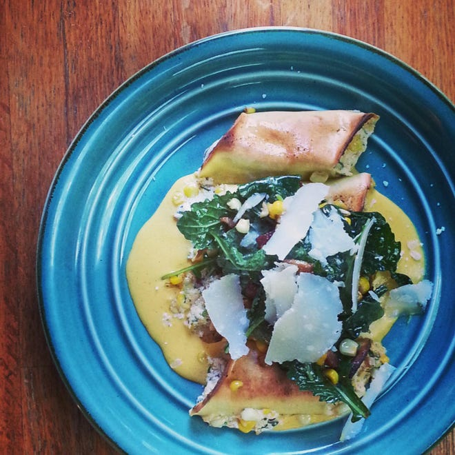 Jersey Corn Cannelloni by Root Catering of Oaklyn. The catering company's chef, Justin Lingl, will host a pop-up dinner at The Station coffee shop in Merchantville.