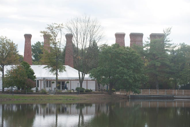 Long silent brick smokestacks from the original factory at the Paint Works are a familiar part of the Gibbsboro skyline.