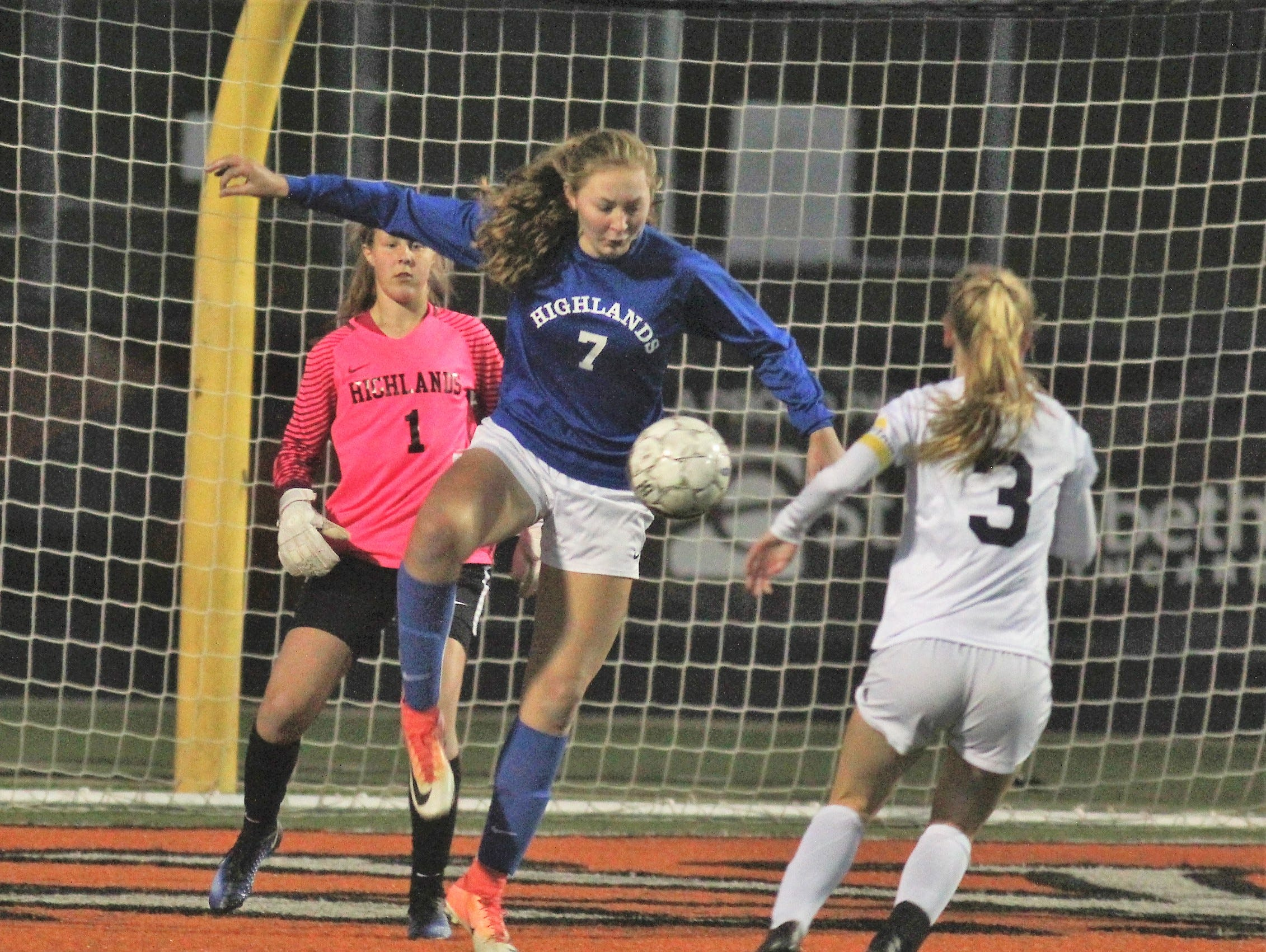 Highlands sophomore Lauren Deckert clears the ball out of trouble during Highlands' 1-0 win over Notre Dame in the 9th Region girls soccer championship game Oct. 18, 2018 at Ryle High School, Union, Ky.