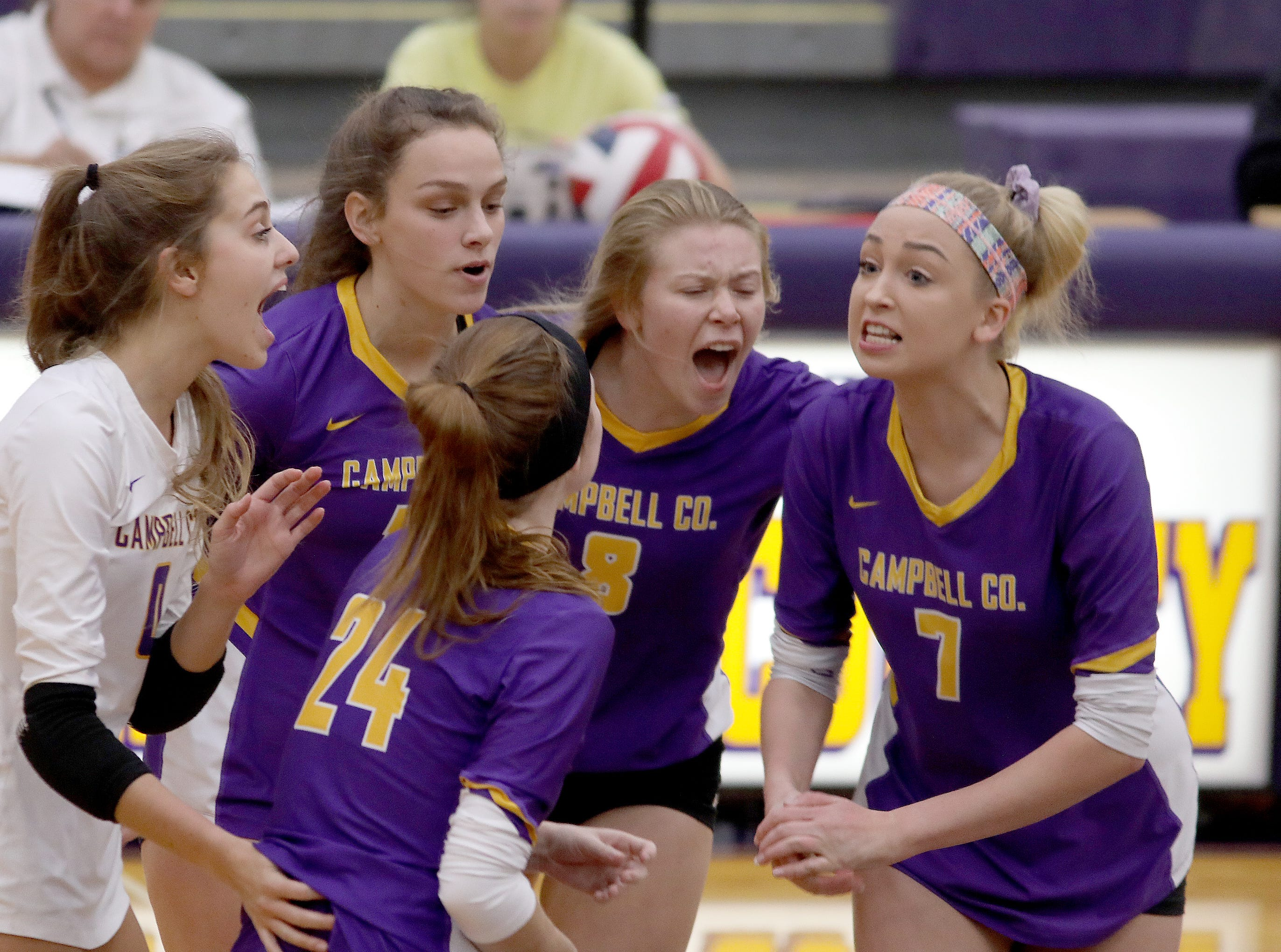 Campbell County Girls volleyball team reacts during the Camels 10th region match against Harrison County, Thursday, Oct.18,2018.