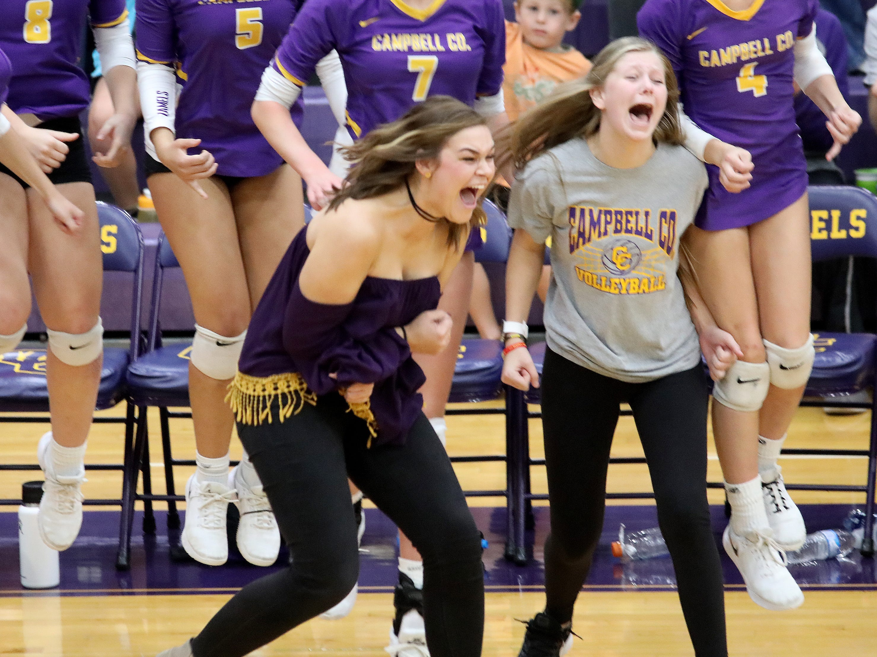 Campbell County head coach Kennedy Berkley reacts during their 10th region tournament match against Harrison County, Thursday, Oct.18, 2018.