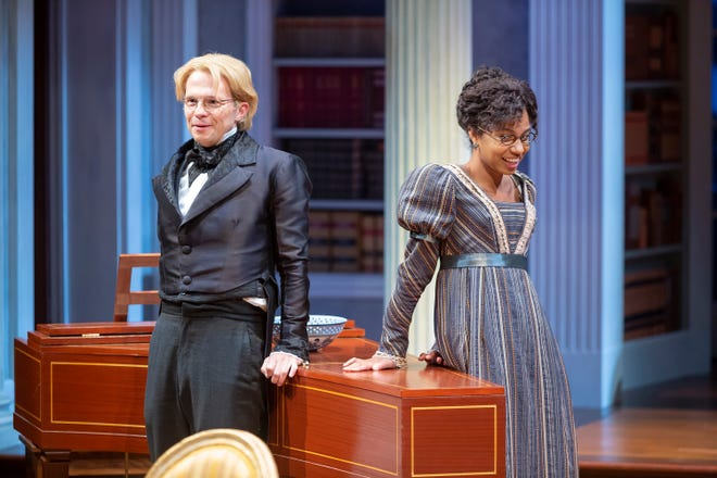 "Arthur de Bourgh (Andrew Fallaize) and Mary Bennet (Ayana Workman) in the Playhouse in the Park's production of ""Miss Bennet: Christmas at Pemberley."" In Lauren Gunderson and Margot Melcon's sequel to ""Pride and Prejudice,"" middle sister Mary finally gets her chance at finding love. The production runs through Nov. 10."