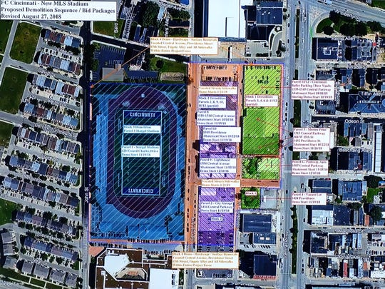 A map showing the demolition phases for the FC Cincinnati stadium project.