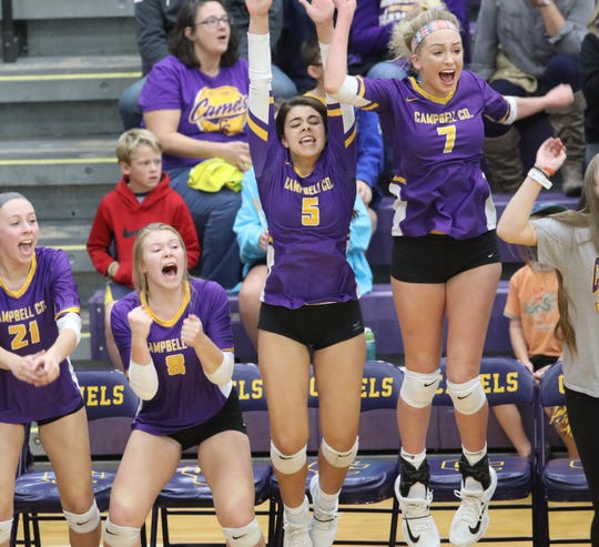 Campbell County Girls volleyball team reacts during the Camels' 10th region match against Harrison County, Thursday, Oct.18,2018.