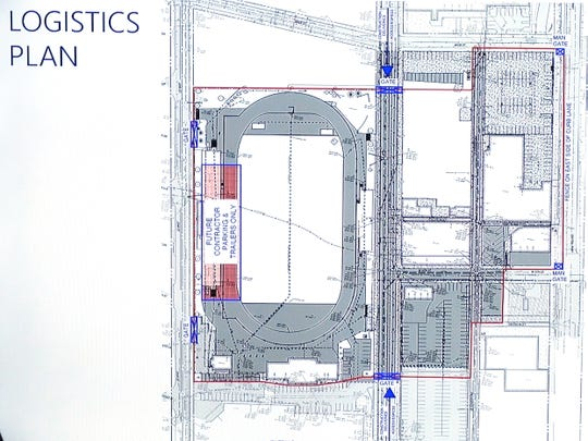 The logistics plan for construction of the FC Cincinnati stadium in West End.