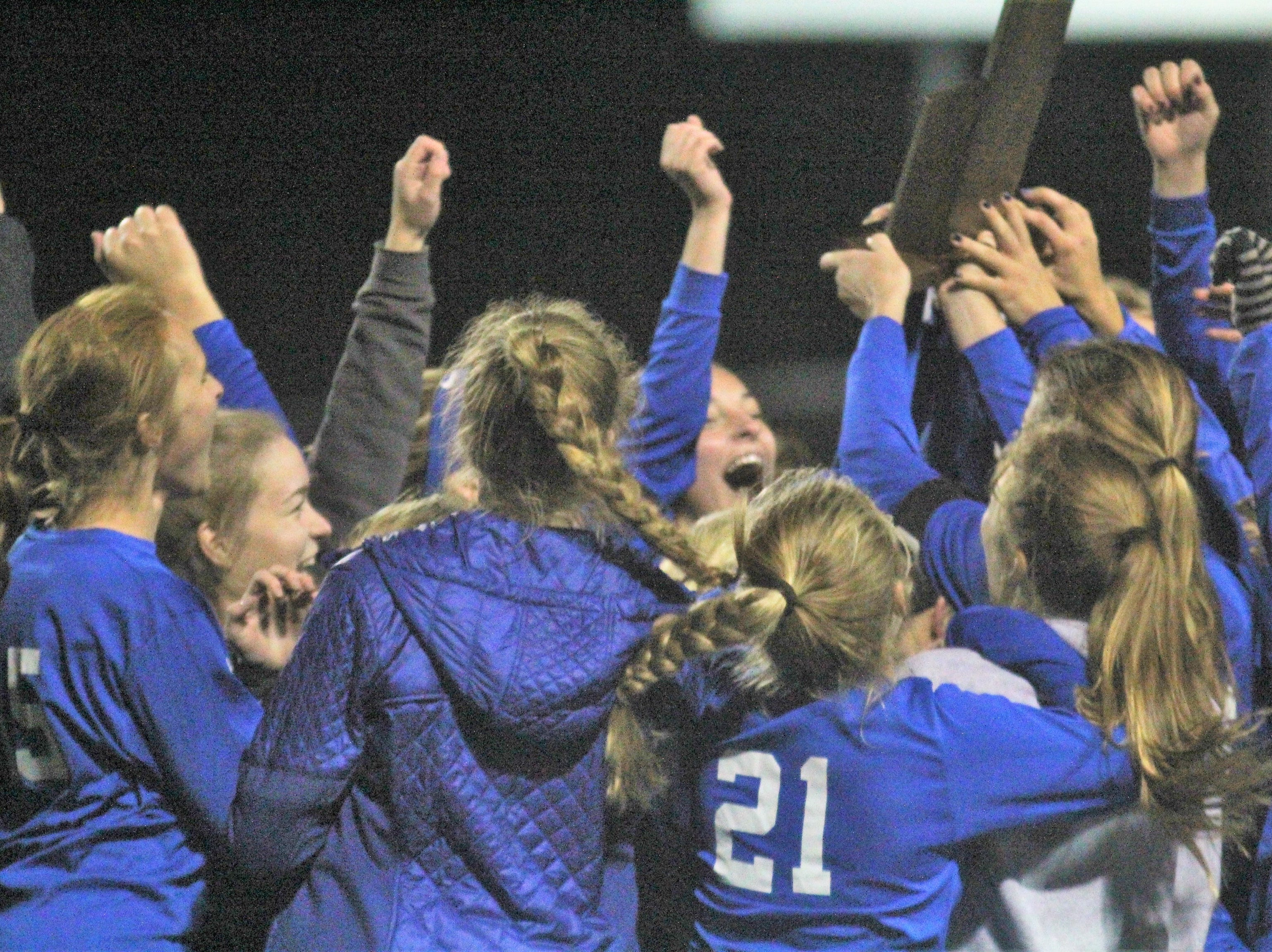 Highlands Bluebirds celebrate their win during Highlands' 1-0 win over Notre Dame in the 9th Region girls soccer championship game Oct. 18, 2018 at Ryle High School, Union, Ky.