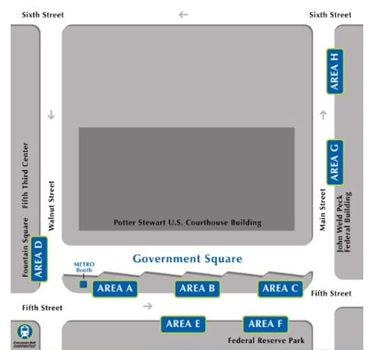 Government Square's bus stops are marked on this map.