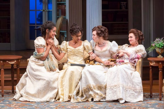 """Four of the five Bennet sisters from Jane Austen's """"Pride and Prejudice"""" are reunited in Lauren Gunderson and Margot Melcon's """"Miss Bennet: Christmas at Pemberley,"""" running at the Playhouse in the Park through Nov. 10. Seen here are Jane Bingley (Maribel Martinez), Mary Bennet (Ayana Workman), Elizabeth Darcy (Marina Shay) and Lydia Wickham (Mia Hutchinson-Shaw)."""