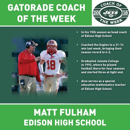 The New York Jets and Gatorade named Edison's Matt Fulham their Coach of the Week