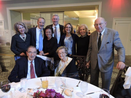 Volunteer honoree Al Kessler of the Basking Ridge section of Bernards, seated beside his wife, Barbara,enjoyed the evening with family and friends. Kessler, 91, has been a volunteer in the SAGE Furniture Restoration Workshop for 20 years. Kessler worked as a dentist in Millburn for 43 years.