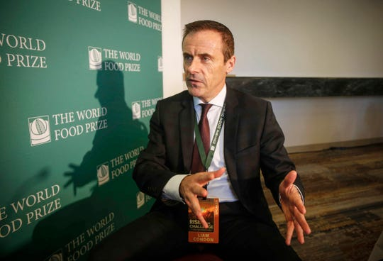 Liam Condon of the Bayer Corporation, talks about the challenges his company faces during the World Food Prize in Des Moines on Thursday, Oct. 18, 2018.