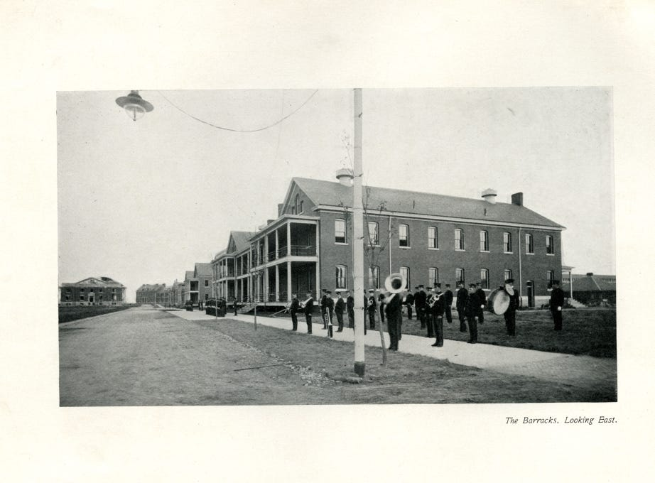 A band outside the barracks at Fort Des Moines.