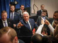 In Iowa, Vice President Mike Pence makes Nancy Pelosi central issue in re-election race for Rep. David Young